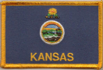 Kansas Embroidered Flag Patch, style 08.
